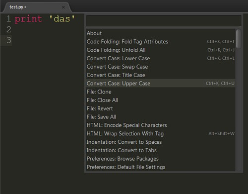 Sublime Text 2 command palette